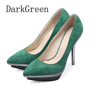 Moda donna sexy sandali scarpe donna tessuto Stiletto Heel tacchi / Piattaforma / Punta tacchi Party & Sera / Blu / verde scuro / pesca Dark Green