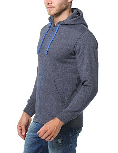 Lower East Herren Sweatjacke mit Hoodie Grau (Grau Antrazit/Blau Melange)