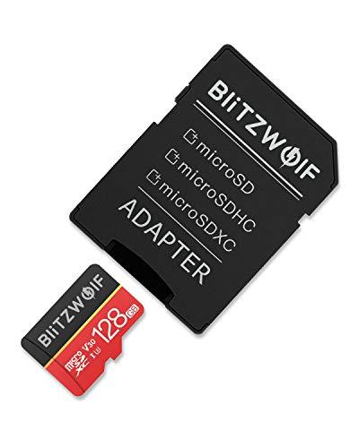 BlitzWolf TF Karte, 128GB Micro Speicherkarte Klasse 10 UHS-1 SD Karte Speicher Memory Flash Card + SD Adapter für Telefon, Tablet und PC(128GB) -