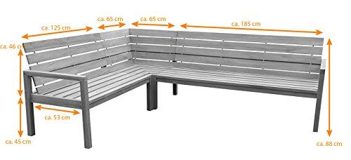 SAM® Teak-Holz Eckbank, massive Gartenbank für bis zu 6 Personen, Sitzbank mit hohem Sitzkomfort, ideal für Garten Terrasse Balkon oder Wintergarten, beidseitig aufbaubar, ca. 250 x 190 cm [521216] - 2