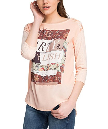 edc by ESPRIT Damen T-Shirt 026cc1k038-mit Rückenteil aus Spitze Rosa (NUDE 685)