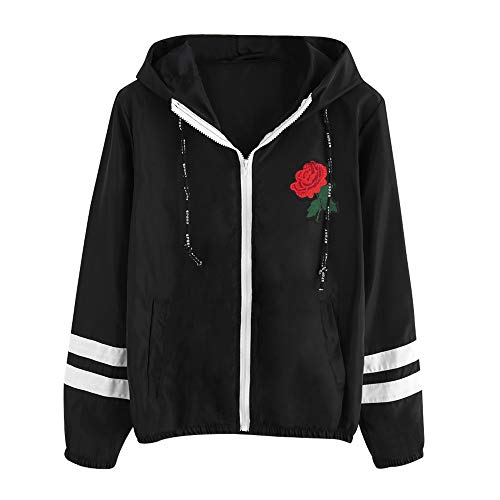 Damen Kapuzenpullover Stickerei Blume Sweatjacke Hoodie Kapuzenjacke Sweatshirt Zipper Hoodies Sweatshirt Oberteil Pullover von Innerternet