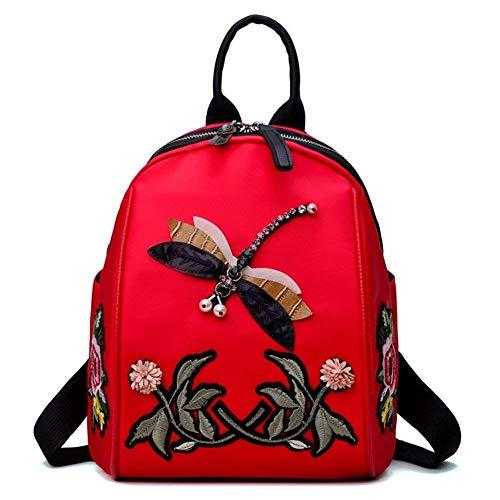 BAIJJ Mädchen Rucksack Nationalen Stil Gestickte Schultasche Wild Sports Travel Nylon Oxford Canvas Handtasche (Farbe: Rot) - Canvas Gestickte Handtasche