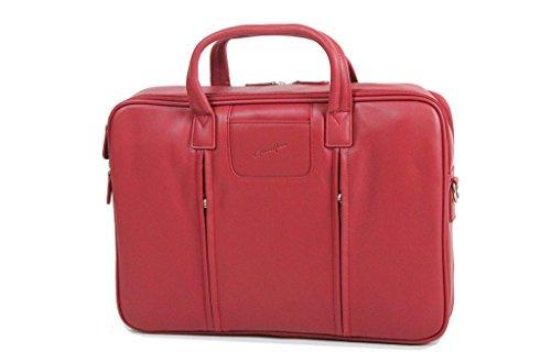 Borsa Per Laptop Gerhard Illustrazione Retro In Morbida Pelle Di Mucca, Liscia Gh13204 Rosso - Rosso