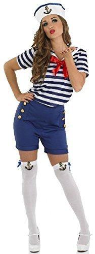 Fancy Me Damen Sassy Marine Seemann Militär Uniform Kostüm Outfit Strümpfe UK 8-22 Übergröße - Blau, 12-14 (Für Kostüme Damen Marine)