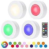 SALKING Schrankleuchten LED Nachtlicht mit Fernbedienung, RGB Leuchtmittel Dimmbar, Farbwechsel Birnenmit 16 Farben, Treppen Licht Wandbeleuchtung, Schlafzimmer, batteriebetrieben und 3M Klebend, 4er