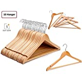 Multi Functional Solid Wooden Suit Hangers(10), Coat Hangers, Natural Finish with 2 Shoulder Notches 360 Degree Swivel Hook (10)