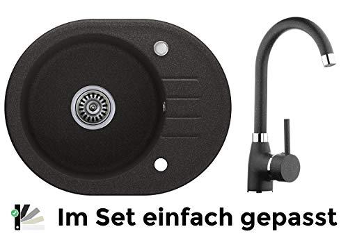 Granitspüle graphit, Armatur 5000 - Hochdruck, 1-Becken, Drehexcenter + Siphon, Spülbecken, Küchenspüle, Schrankbreite ab 45 cm