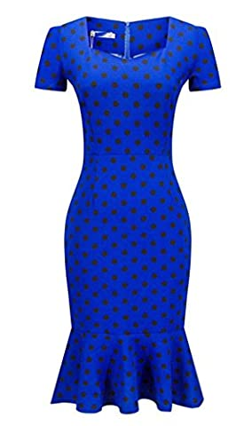 Fortuning's JDS Fashion Stylish Fishtail Skirt Bodycon Sweetheart Neck Short Sleeves with Belt Knee Length Dress for Ladies, S-3XL Europe Size, Dots in
