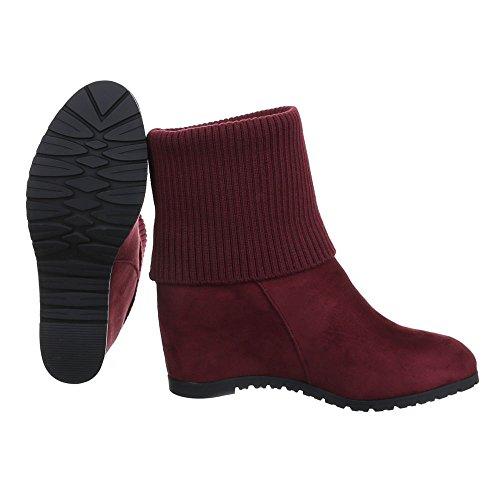 Ital-Design , chaussures compensées femme rouge bordeaux