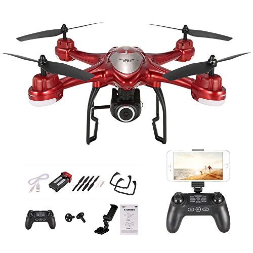 Goolsky S30W 2.4G 720P HD Telecamera Wifi FPV RC Quadcopter Selfie Drone con posizionamento GPS One-Key Return (rosso)