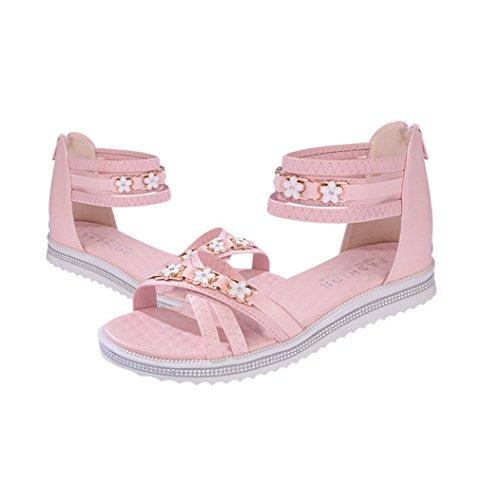 Damen Sandalen Flach Peep-Toe Reißverschluss Römer Stil mit Blumen Dekoriert Kreuz Süß Freizeit Urlaub Sommerlich Schuhe Pink