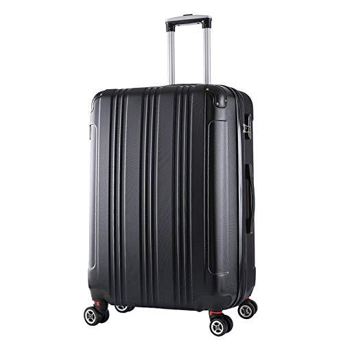 WOLTU RK4207sz, Reise Koffer Trolley Hartschale Volumen erweiterbar, Reisekoffer Hartschalenkoffer 4 Rollen, M/L/XL/Set, leicht und günstig, Schwarz (XL, 76 cm & 110 Liter)