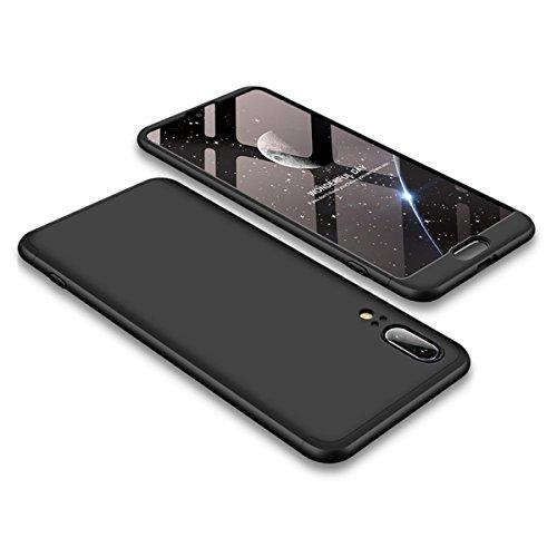 Preisvergleich Produktbild Handyhülle für Huawei P20 ,ERLI 3 in 1 Ultra Dünn 360°Full Body Schutz Schutzhülle ,Panzerglas Displayschutzfolie für Huawei P20 , Anti-Kratzer Elegant Stoßfest Hart PC Skin Rückdeckel Glatte Rückseite Bumper tasche für Huawei P20 (Schwarz)