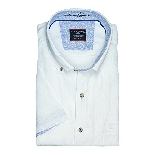 Weißes Leinenhemd von Casamoda in Übergröße Weiß