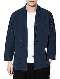 QitunC Uomo Lino Miscela Cardigan Chimono Retro Cinese Stile Giacca Cappotto  Plus Size Marina Militare M b4cf967a156