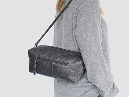 Piñatex® Handtasche, schwarze Umhängetasche aus Ananasfaser, vegan, schwarze Schultertasche, Geschenk, - 4