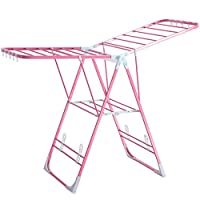 Homewares Winged Folding Clothes Airer Laundry Drying Rack Adjustable Height Indoor and Outdoor to Use