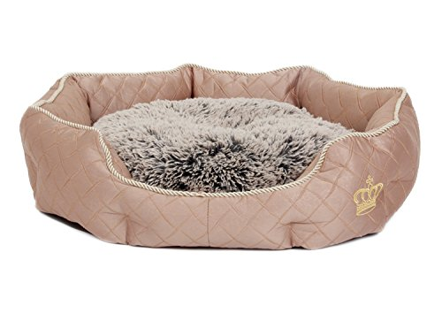 Crown S Hundebett Hundekörbchen Tierkissen hellbraun 45 x 14 x 38 cm mit weichem Fell