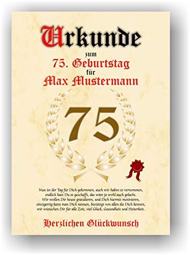 Urkunde zum 75. Geburtstag - Glückwunsch Geschenkurkunde personalisiertes Geschenk mit Name Gedicht und Spruch Karte Präsent Geschenkidee Mann Frau DIN A4