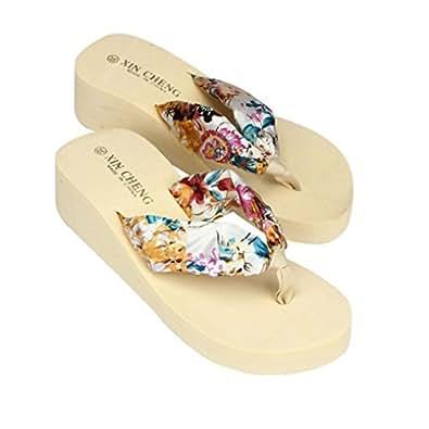 LUCKYCAT Sandales pour Femme, Prime Day Amazon Chaussures de Été Sandales à Talons Bohême Sandales de Plage à Fleurs Fond Plat Thong Pantoufles Talon Haut Multi-Couleur en Option 2018 (36EU, Beige)