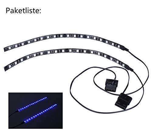 Miwatt PC-Innenbeleuchtung LED-Leiste für Modding PC-Gehäuse, Molex-Anschlussnetzteil, Rückseitenmagnet, 2X30cm (einfarbig, lila, UV)