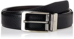 Peter England Mens synthetic Belt (8907495138732_Medium_Black and Brown)