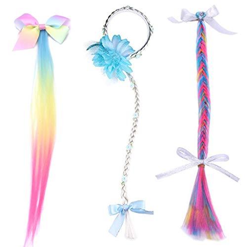 Rapunzel - perücke Mädchen haarband,Amycute 3 pcs Kinder Zopfgummi für Prinzessinen mit langem Flechtzopf, Glitzersteinen und Textil-Blumen, für Rapunzel Kostüm. (Rapunzel Kostüm Haar)
