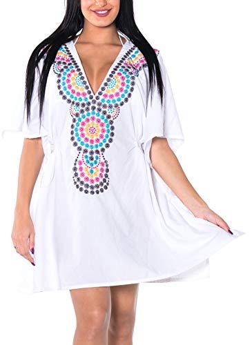 LA LEELA weichen, sanften Rayon Blumenhals bestickte Badebekleidungsfrauen vertuschen Weiß -