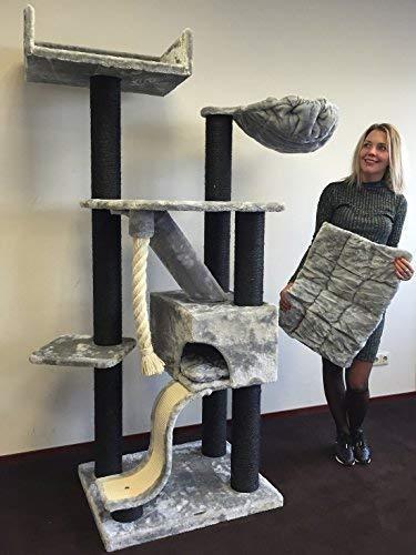 RHRQuality Kratzbaum Grosse Katzen stabil XXL Kilimandjaro Blackline Hell Grau Katzenkratzbaum für schwere Katze hoch