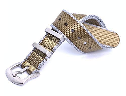 NATO Strap 18mm/20mm/22mm Khaki-Grau aus Heavy Duty Militär G10 Seatbelt-Nylon Uhrenarmband -