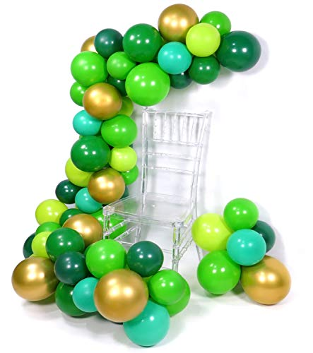 PuTwo Luftballons Grün, 70 Stück 12 Zoll Satz von Mintgrün Ballons Ballons Apfelgrün Hellgrüne Luftballons Ballons Grün Luftballons Dunkel Grün Luftballons Metallic Gold für Grün Party, Krokodil Party