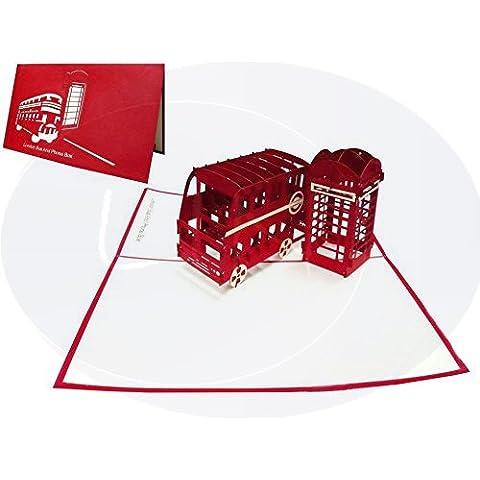 LIN - Pop Up 3D Tarjeta de felicitación, diseño de cabina telefónica y autobús inglés, (#162)
