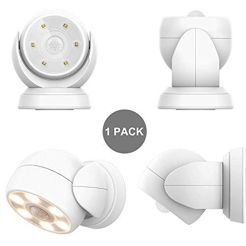 HONWELL Luz LED con sensor de movimiento, impermeable, para exterior, foco inalámbrico, foco...