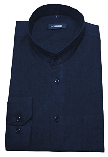 Stehkragen Leinen Hemd marine dunkel-blau bequeme HUBER 0041 Passform S bis 5XL Blau