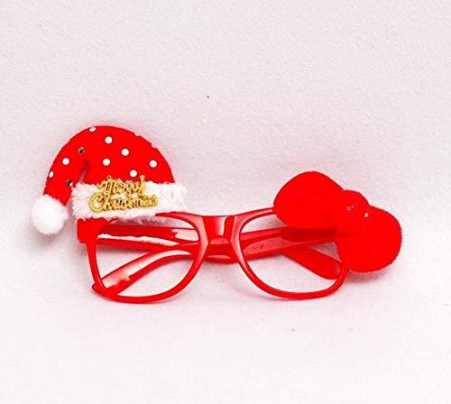 SUxian Weihnachten Kostüm, Neuheit Weihnachtsfeier Gläser Lustige Sonnenbrille Brillen Weihnachten Kostüm Ornamente Geschenke Ohne Linsen (Red Hat Pattern)
