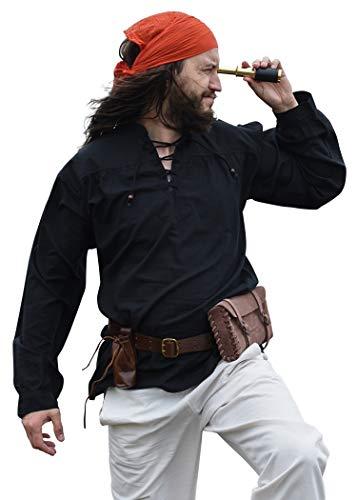 Battle-Merchant Mittelalter-Hemd Ludwig LARP Wikinger Kleidung Herren Schwarz XXL (Reenactment Kostüm Pirat)