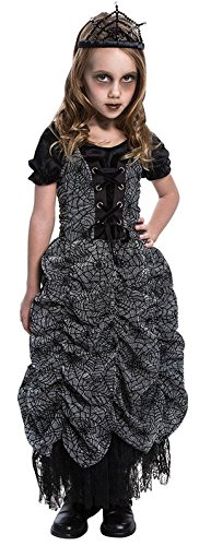 GIRLS BLACK SPIDER COFFIN PRINCESS HALLOWEEN FANCY DRESS COSTUME 8 - 10 years