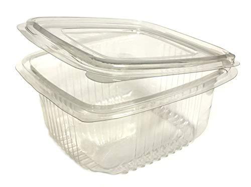 sellaviva Feinkostbecher/Salatbox mit Deckel 250ml Transparent (25 Stück)