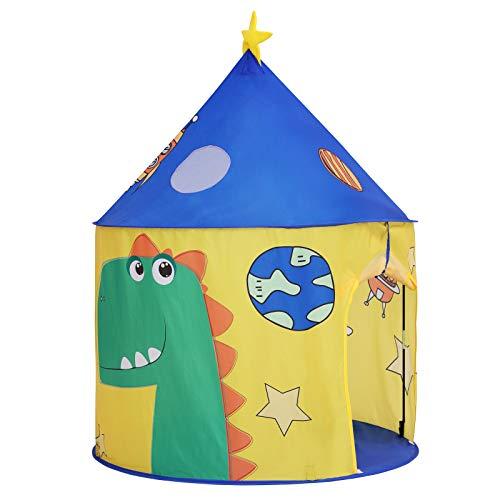 SONGMICS Tenda da Gioco per Bambini, Castello per Casa e Giardino, Tenda Portatile con Borsa da Trasporto, Spazio Giochi a Tema Dinosauri, Area Privata per 3 Bambini, Certificato EN71 LPT02YU