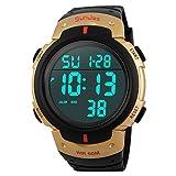 SunJas Armbanduhr Sportuhr 50 Meter Wasserdicht Uhr Digital Led Alarm Kalender Uhren Watches für Herren Männer Damen Frauen Jungen universal Multifunktions-Analog Clock