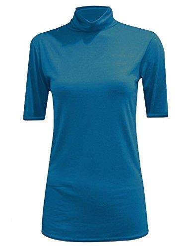 WearAll - Haut à col roulé sans manches - Hauts - Femmes - Tailles 36 à 42 Teal Short Sleeve