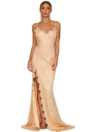 sexy elegante abito cerimonia da donna con spacco,vestito lungo da party e festa, schiena nuda e spalline regolabili. -Beige-S