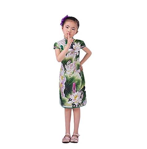 CuteOn Chinesische Cheongsam Kleider Kurzarm Mini Kleider für Mädchen Grün 150cm (Frosch-kostüm Muster Kind)