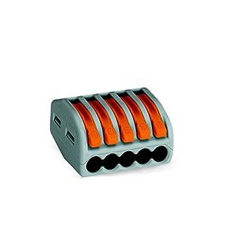 WAGO 222-415 Verbindungsklemme, 5 Pole, wieder lösbar,1er Pack (1 x 40 Stück)