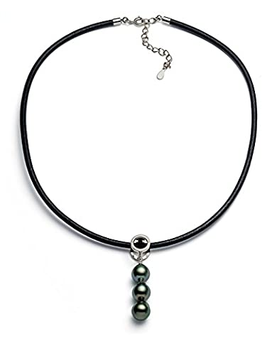 8–9mm Noir Baroque–Collier Femme–Perle de culture de Tahiti de qualité AA + avec, en cuir 45,7cm