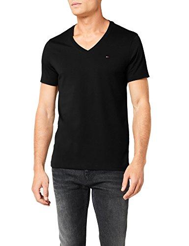 Hilfiger Denim Herren T-Shirt Original VN Knit s/s, Schwarz (Tommy Black 078), Gr. M (Pique-rugby)