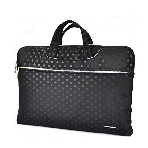 Sumaclife Pu Leather Briefcase Bag Case Pouch Sleeve - Macbook Air 13.3 Inch / Asus Zenbook Ux305Fa - Asm1 13.3 Inch And Hp / Dell /Lenovo / Toshiba / Acer /Sony 13.3 Inch Laptops (Black Dot) (DSZCR_LAPLEA415_FBM)