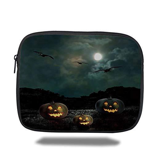Tablet Bag for Ipad air 2/3/4/mini 9.7 inch,Halloween,Yard of an Old House at Night Majestic Moon Sky Creepy Dark Evil Face Pumpkins Decorative,Multicolor,3D Print