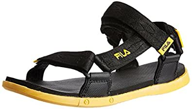 Fila Men's Ark Black and Yellow  Sandals and Floaters -11 UK/India (45 EU)